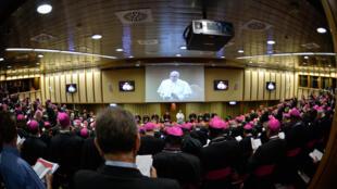 Папа Франциск выступает на Синоде по вопросам семьи, который проходил в Ватикане с 4 по 25 октября.