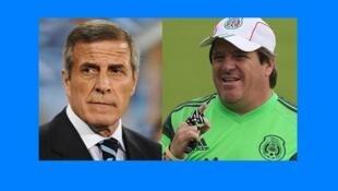 El técnico uruguayo Óscar Tabárez y su par mexicano Miguel Herrera.