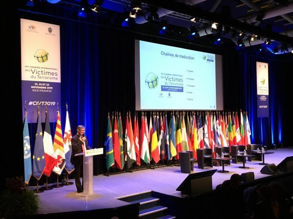 Guillaume Denoix de Saint Marc, président de l'Association française des victimes du terrorisme, organisatrice du congrès, a ouvert les travaux, le 21 novembre 2019 à Nice.