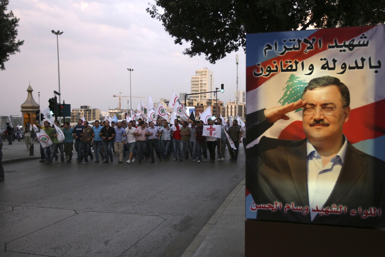 Partidários das Forças Cristãs libanesas protestam contra o assasinado de chefe da Inteligência, neste sábado (20).