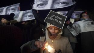Manifestation à New York après l'attentat contre Charlie Hebdo, le 7 janvier 2015.
