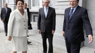 Presidente do Dilma Roussef, o presidente do Conselho Europeu, Herman Van  Rompuy, e presidente da Comissão Europeia, José Manuel  Barroso, em 2011