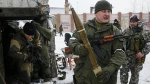 Пророссийский сепаратист в Углегорске, 10 февраля 2015 г.