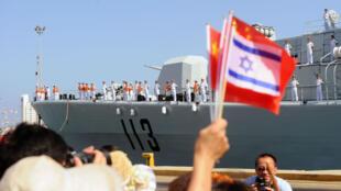 2012年8月13日,一些中国船只停靠以色列海法港,参加中以建交20周年庆祝活动。