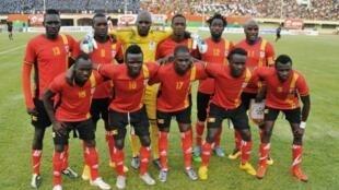 Kikosi cha wachezaji kumi na moja cha timu ya taifa ya Uganda katika mechi ya kwanza ya kufuzu kwa AFCON 2017 dhidi ya Burkina Faso, Machi 26, 2016.