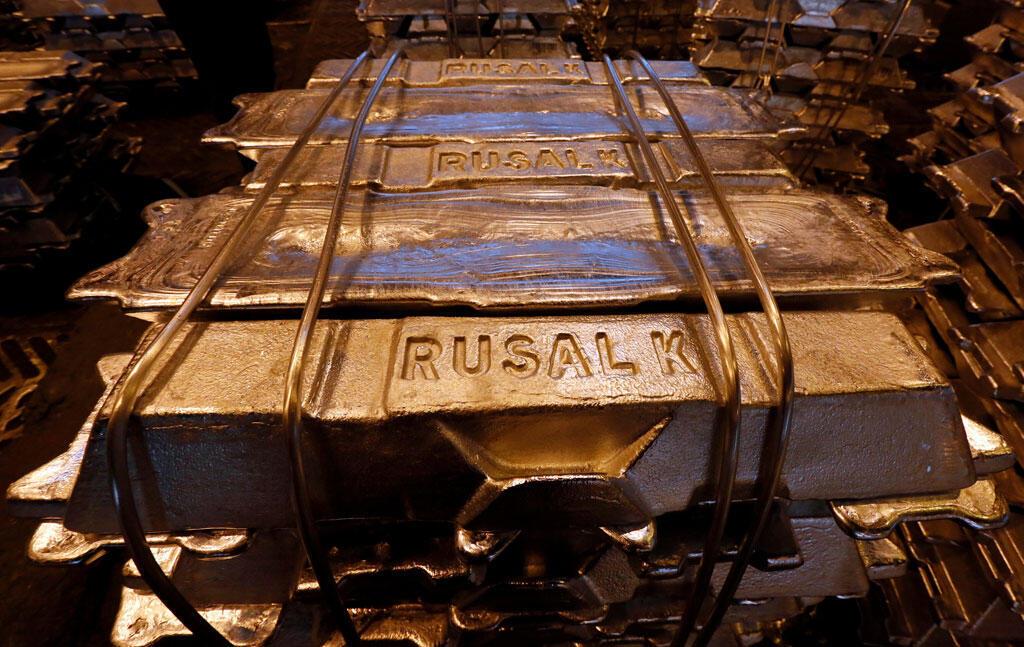 Lingots d'aluminium dans une fonderie appartenant à Rusal à Krasnoyarsk (Russie) le 3 octobre 2018.