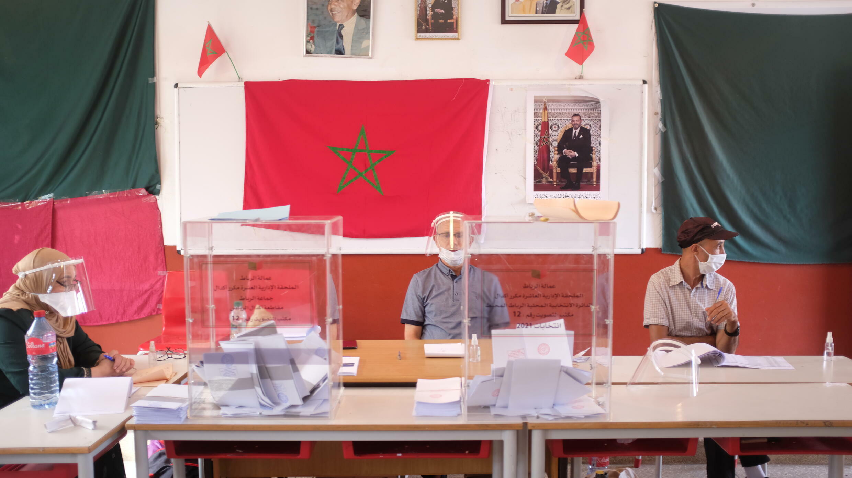 Bureau de vote à Rabat, le mercredi 8 septembre 2021, pour les élections générales au Maroc.
