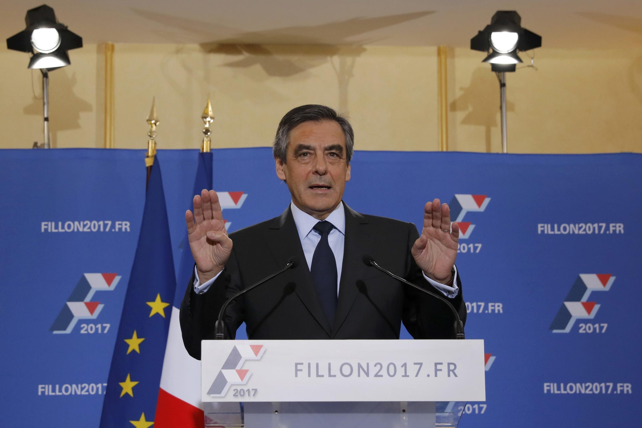 François Fillon delivers his speech after winning the French centre-right presidential primary election in Paris on Sunday.