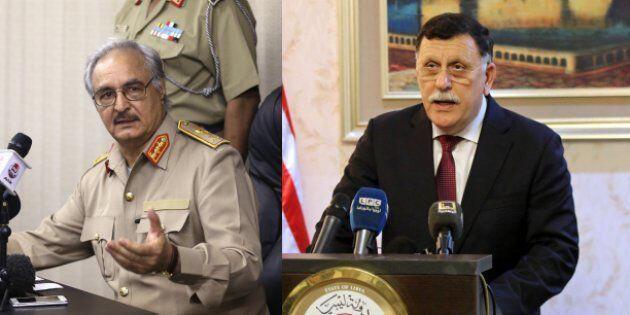 فایِز سَرّاج، نخست وزیر دولتِ وحدت ملی لیبی (سمت راست) - ژنرال خلیفه حَفتَر، فرمانده ارتش ملیِ لیبی ( سمت چپ)