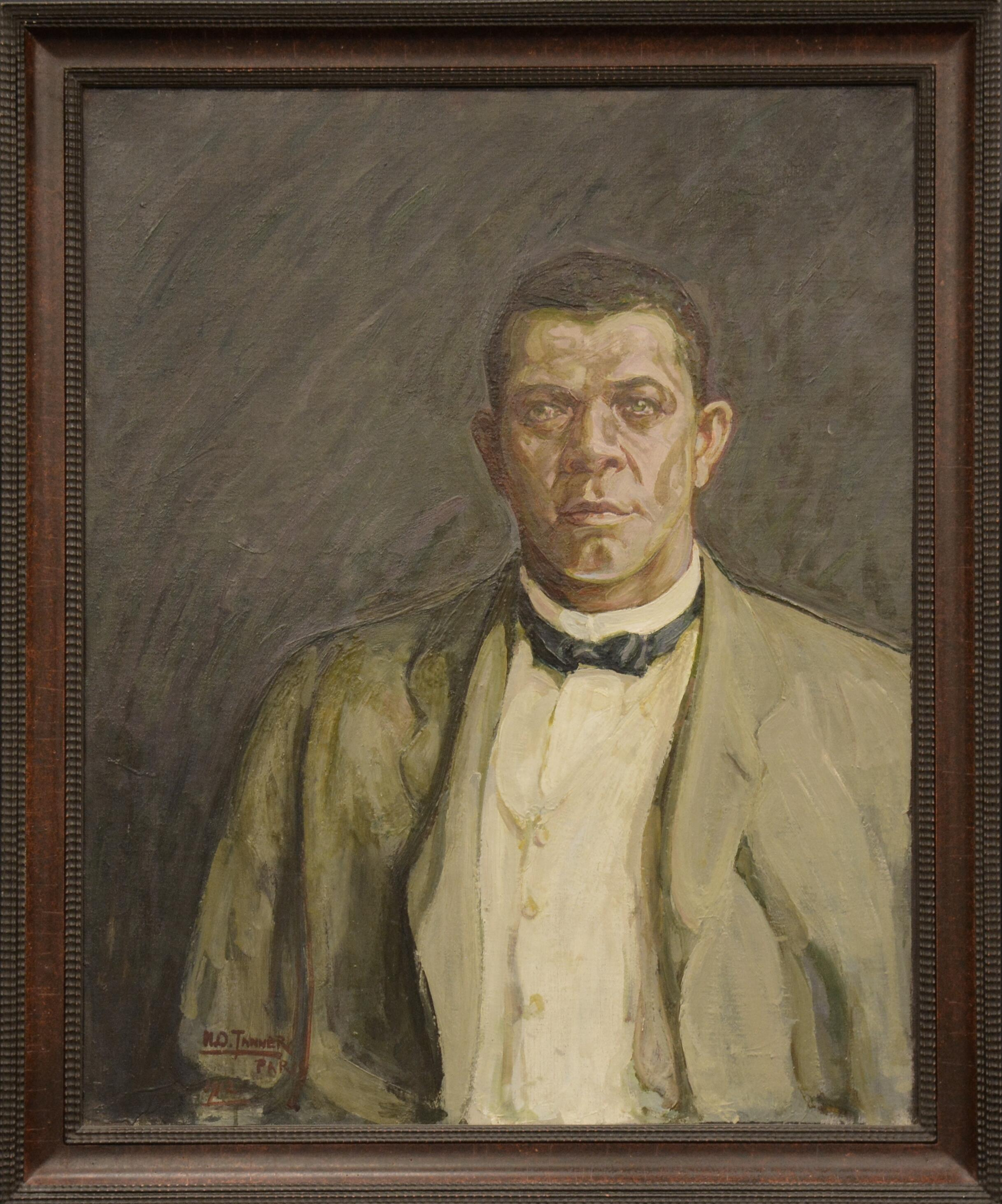 « Portrait of Booker T. Washington » (detail), 1917. Oeuvre de Henry Ossawa Tanner (1859-1937), exposée dans « The Color Line » au musée du quai Branly.