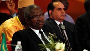 Le ministre de la Défense malien, Tiéna Coulibaly, lors d'une réunion avec ses homologues du Sahel et du Sahara à Abidjan, en mai 2017.