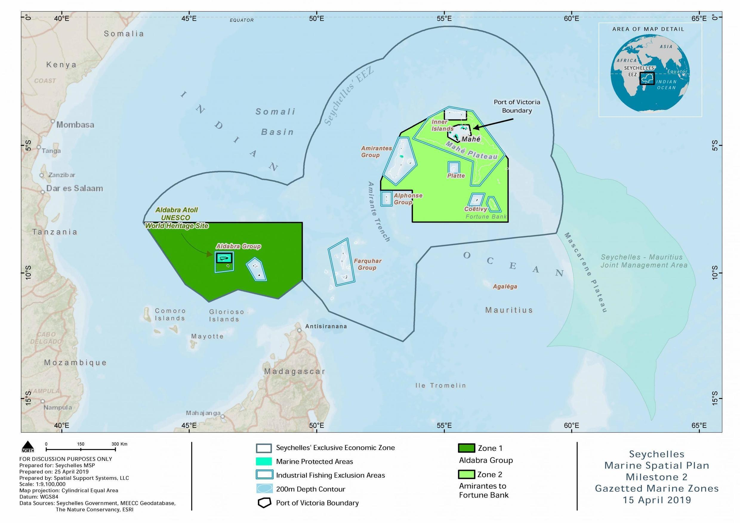 Seychelles archipelago map outlining its borders and marine protected areas.