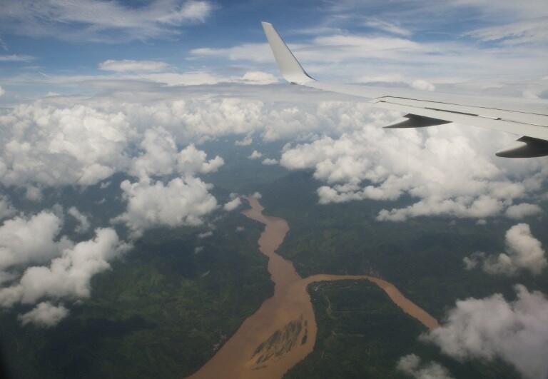 Mékong, vue aérienne de Luang Prabang, Laos.