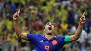 Polonia vs Colombia, en el Kazan Arena, en Kazán, Rusia, este 24 de junio de 2018. Radamel Falcao de Colombia celebra tras anotar su primer gol del Mundial.