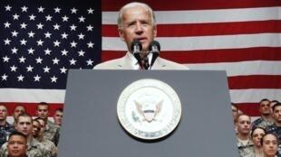 O vice-presidente dos Estados Unidos, Joe Biden,  durante entrevista coletiva no Japão