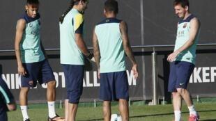 Neymar durante o primeiro treino do ex-santista no Barcelona, 29 de julho de 2013