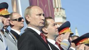 O presidente russo Vladimir Putin durante desfile na Praça Vermelha, em Moscou.