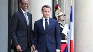 Paul Kagame na Rwanda da Shugaban Faransa Emmanuel Macron a fadar Elysee