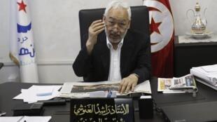 راشد غنوشی- رهبر حزب حاکم تونس در مصاحبه مطبوعاتی خود با رویترز. دوشنبه ۱۴ مرداد/ ٥ اوت ٢٠١٣