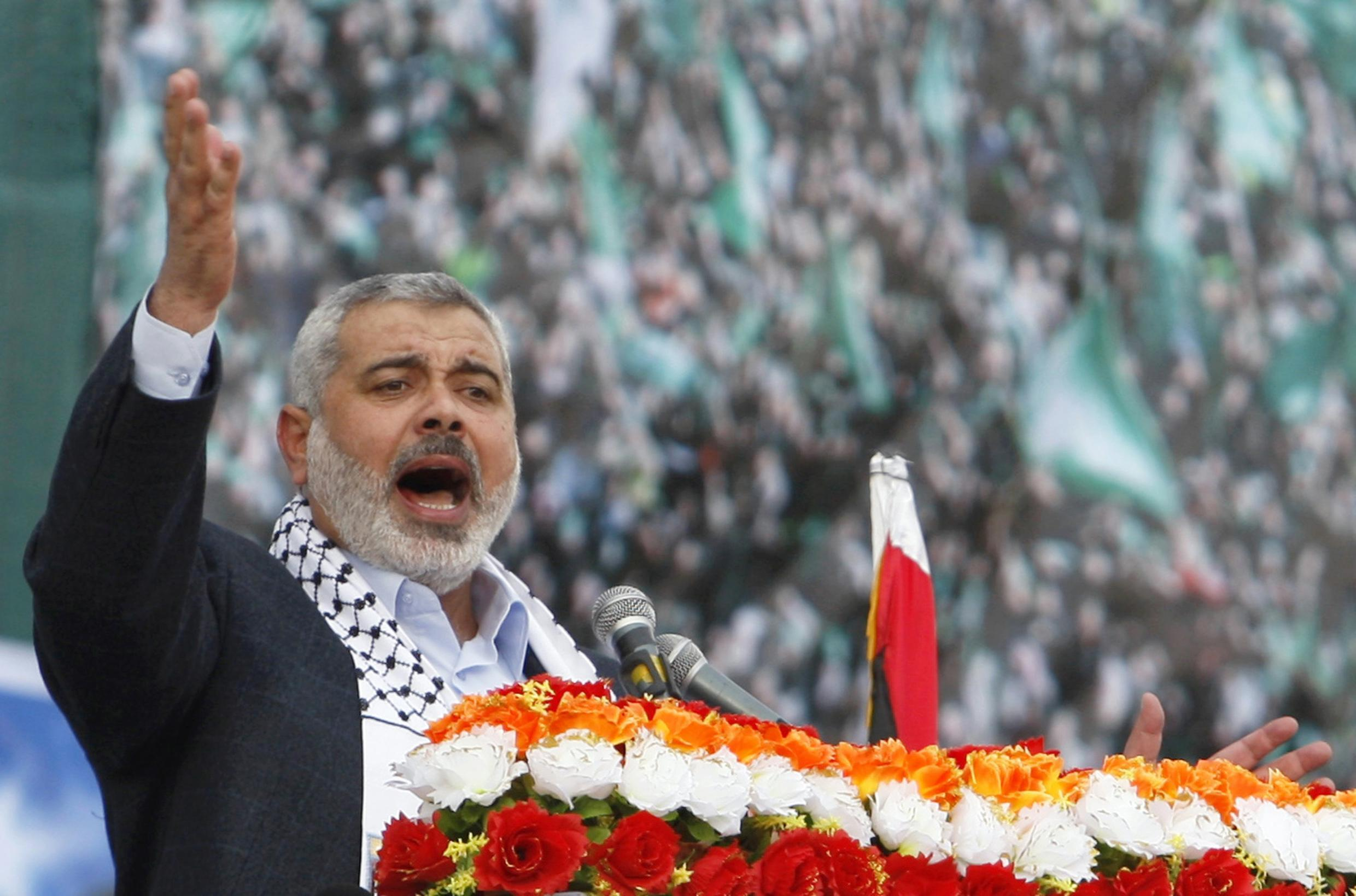 Ismail Haniyeh, Prime Minister of Hamas, celebrates the 22nd anniversary of the founding of Hamas on 14 November 2009