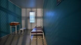 A prison cell in the correctional facility of Condé-sur-Sarthe in l'Orne, in the Normandy region
