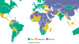 La carte 2017 de l'ONG américaine Freedom House donnant une indication de l'état de la démocratie dans le monde.