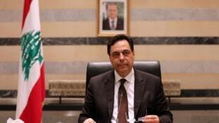 Le Premier ministre libanais Hassan Diab, au palais du gouvernement à Beyrouth, le 10 août 2020.