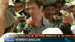 Primeira imagem do jornalista Romeo Langlois depois de sua libertação, transmitida pela TV colombiana Telesur.