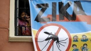 Um cartaz de combate ao zika, emTegucigalpa, capital de Honduras, em 6 de fevereiro de 2016.