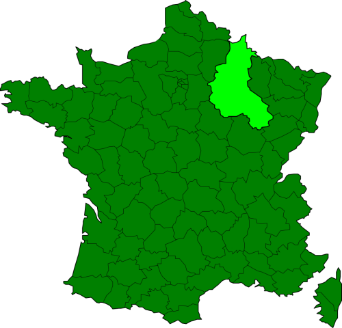 A map showing the former Champagne- Ardennes region, now part of Grand Est.