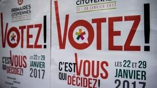 Posters urge French people to vote in the Socialist primaries