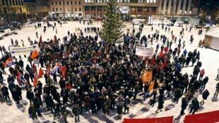 Protesta en Oslo frente a la sede del Instituto Nobel, este 9 de diciembre de 2012.