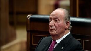 El rey emérito Juan Carlos I asiste a un acto conmemorativo de los 40 años de la Constitución española, el 6 de diciembre de 2018 en el Congreso de los Diputados, en Madrid