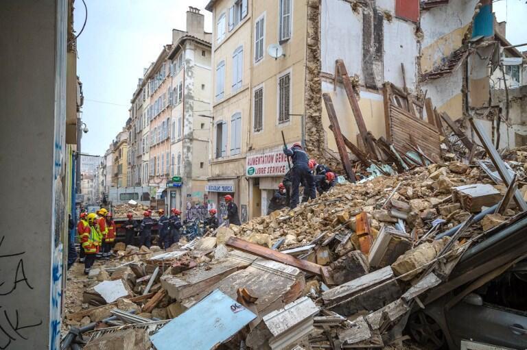 Đống đổ nát sau khi một tòa nhà cũ kỹ đổ sụp tại thành phố miền Marseille, miền nam nước Pháp, hồi đầu tháng 11/2018.