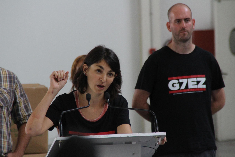 Alternative G7 and ATTAC spokesperson Aurélie Trouvé during a press conference in Biarritz, France.
