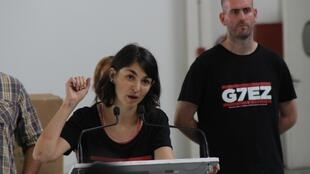 Alternative G7 and ATTAC spokesperson Aurélie Trouvé during a press conference in Biarritz, France.
