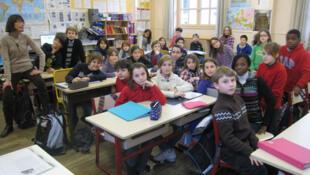 Une classe de CM2 de l'Ecole Ampère, à Paris, le 16 janvier 2012.