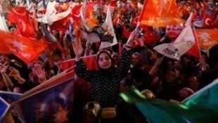 AK Party supporters celebrate in Ankara, Turkey June 24, 2018.