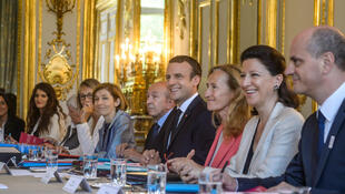 Emmanuel Macron (C) with R-L, Jean-Michel Blanquer (Education), Agnes Buzyn Health), Nicole Belloubet (Justice), Gerard Collomb (Interior), Florence Parly (Defence), Françoise Nyssen (Culture)
