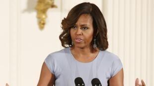 Michelle Obama, mkewe Rais Barack Obama, Washington Mei 8, 2014.