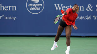 Serena Williams (USA) returns a shot against Daria Gavrilova (AUS) in the Western and Southern tennis open