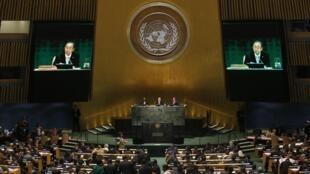 سخنرانی بان کی مون- دبیر کل سازمان ملل، در نشست آب وهوا. نیویورک، ٢٣ سپتامبر ٢٠١٤