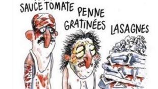"""Карикатура на тему землетрясения в Италии, лпубликованный в """"Шарли Эбдо"""" 2 сентября 2016 г."""