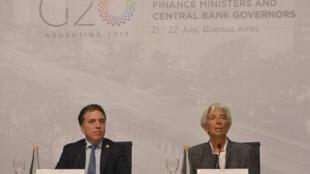 O ministro da Fazenda argentino, Nicolás Dujovne, e a diretora do FMI, Christine Lagarde.