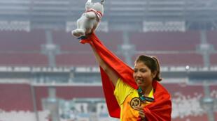 Vận động viên nhảy xa Bùi Thu Thảo, huy chương vàng ASIAD 18, ngày 27/08/2018.