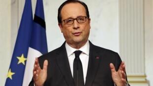 Tổng thống Pháp François Hollande phát biểu trên truyền hình, 09/01/2015.