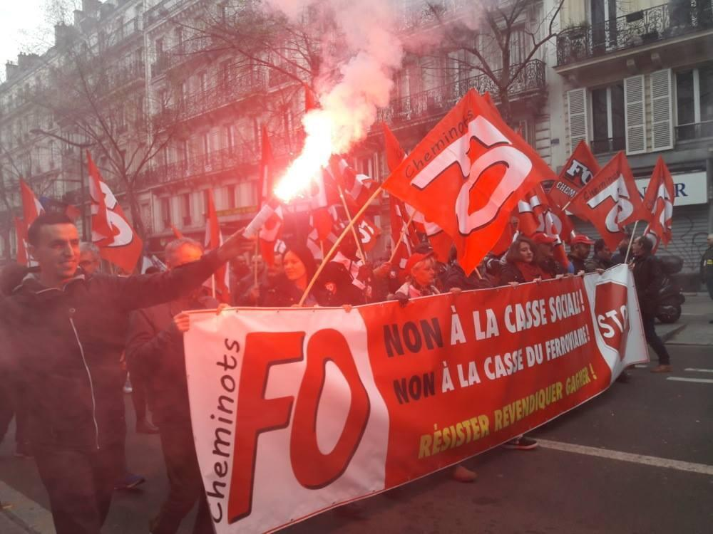 Striking rail workers with the trade union Force Ouvrière (Worker's Force) demonstrate against plans to reform the national rail company, the SNCF, in Paris, 3 April 2018.