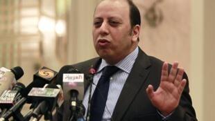Libya's Deputy Foreign Minister Khaled Kaim at a news conference