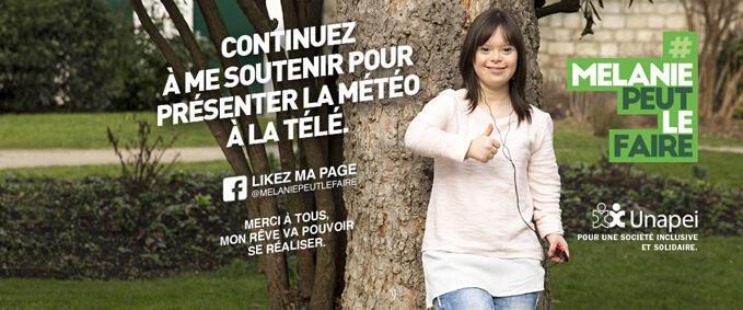 Mélanie Ségard, 21 ans, soutenue par l'association Unapei (personnes handicapées mentales et leurs familles) a présenté la météo sur une chaîne de télévision, afin de montrer le handicap sous un jour positif.