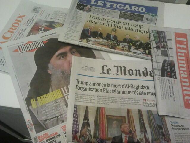 Primeiras páginas dos jornais franceses de 28 de outubro de 2019